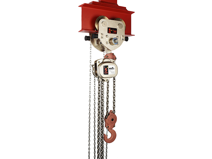 Spark resistant chain block trolley