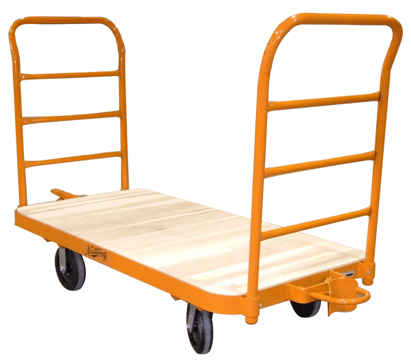 Orange Nutting trailer with wood
